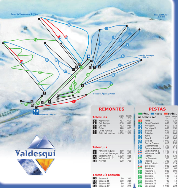 Valdesqui Piste / Trail Map