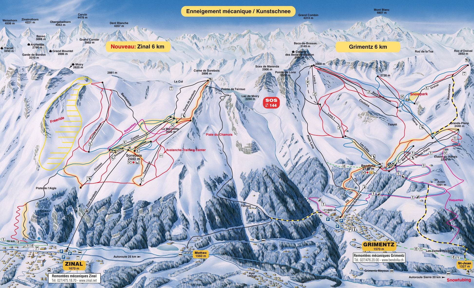 Zinal Piste / Trail Map