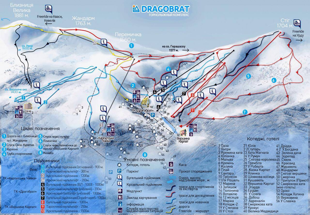 Drahobrat Piste / Trail Map