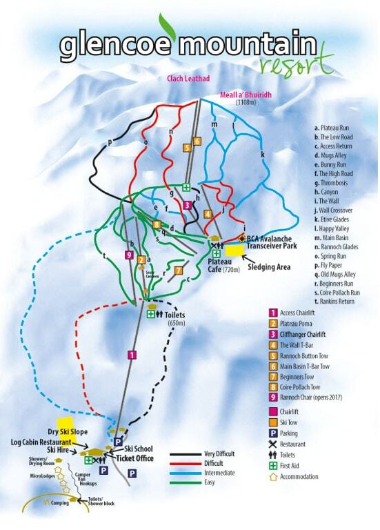 Glencoe Mountain Resort Piste / Trail Map