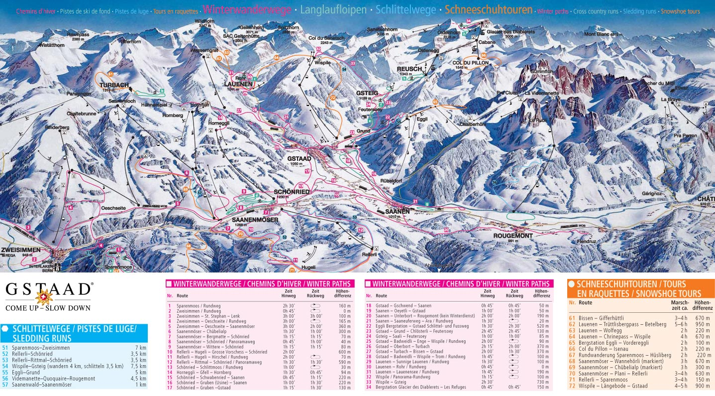Gstaad - Schönried - Saanenmöser Piste / Trail Map