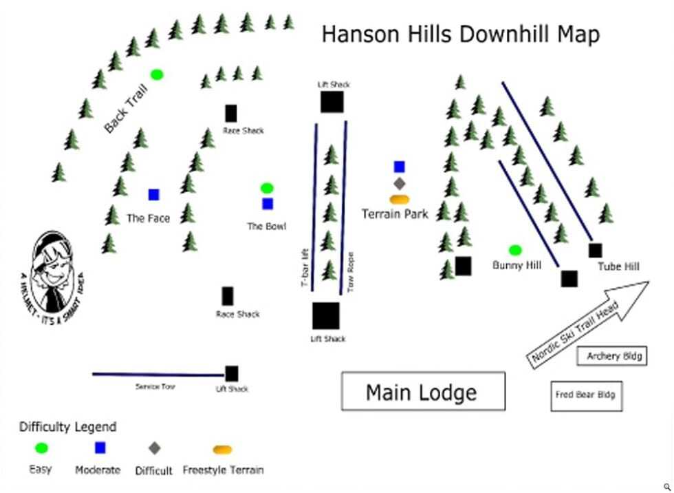 Hanson Hills Piste / Trail Map