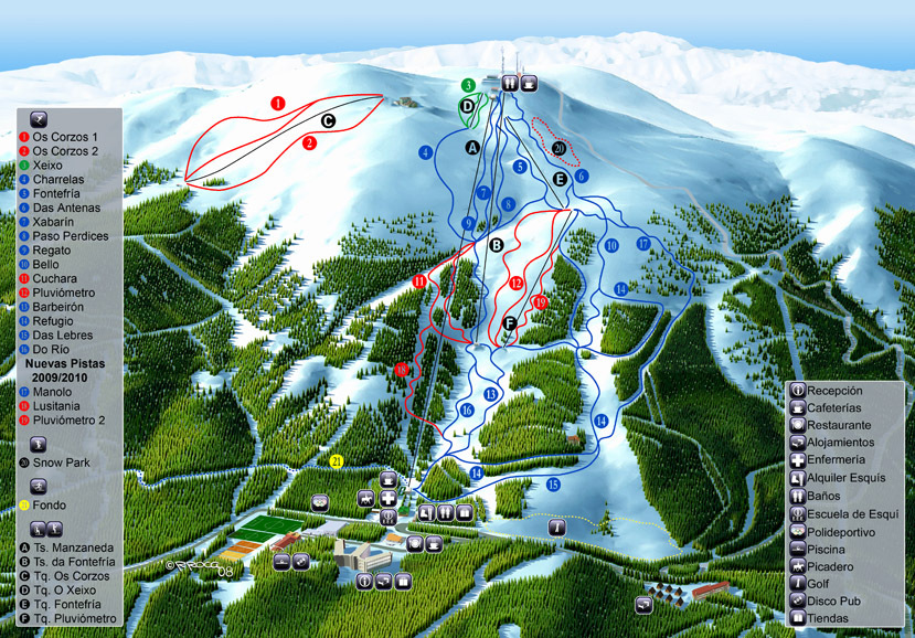 Manzaneda Piste / Trail Map