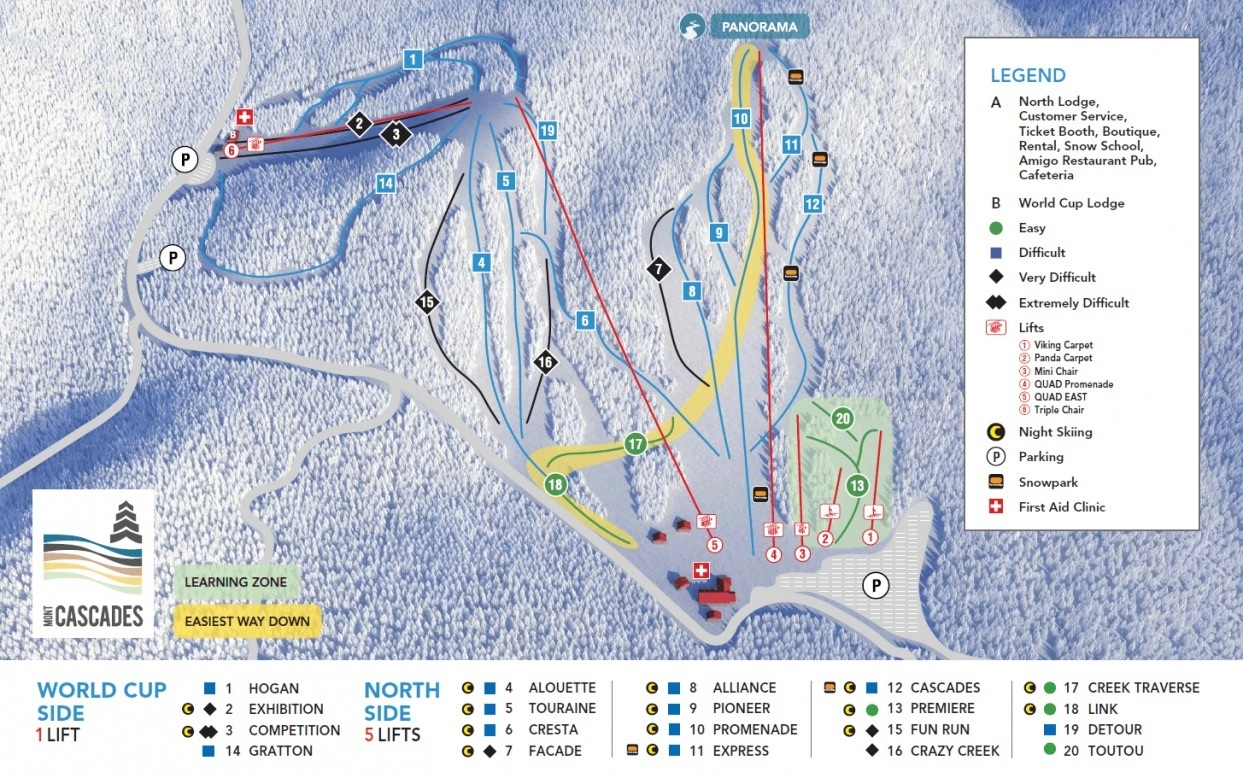 Mont Cascades Piste / Trail Map