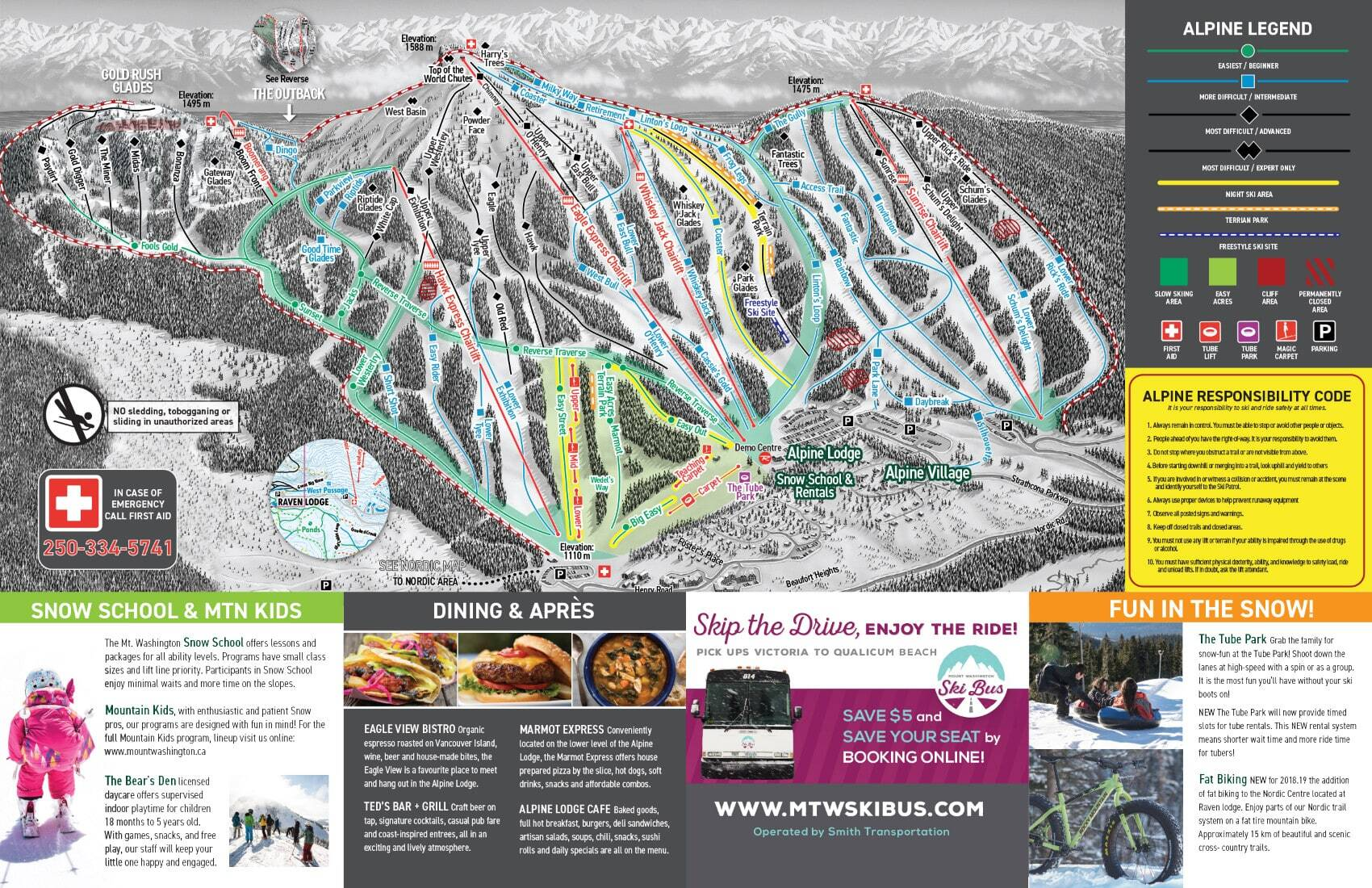 Mount Washington Piste / Trail Map