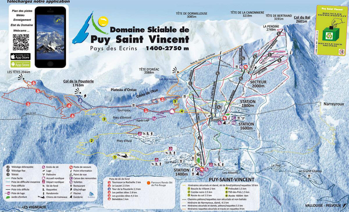 Puy St Vincent Piste / Trail Map