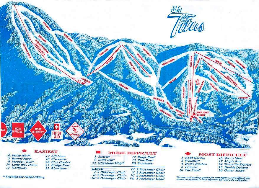 Titus Mountain Piste / Trail Map