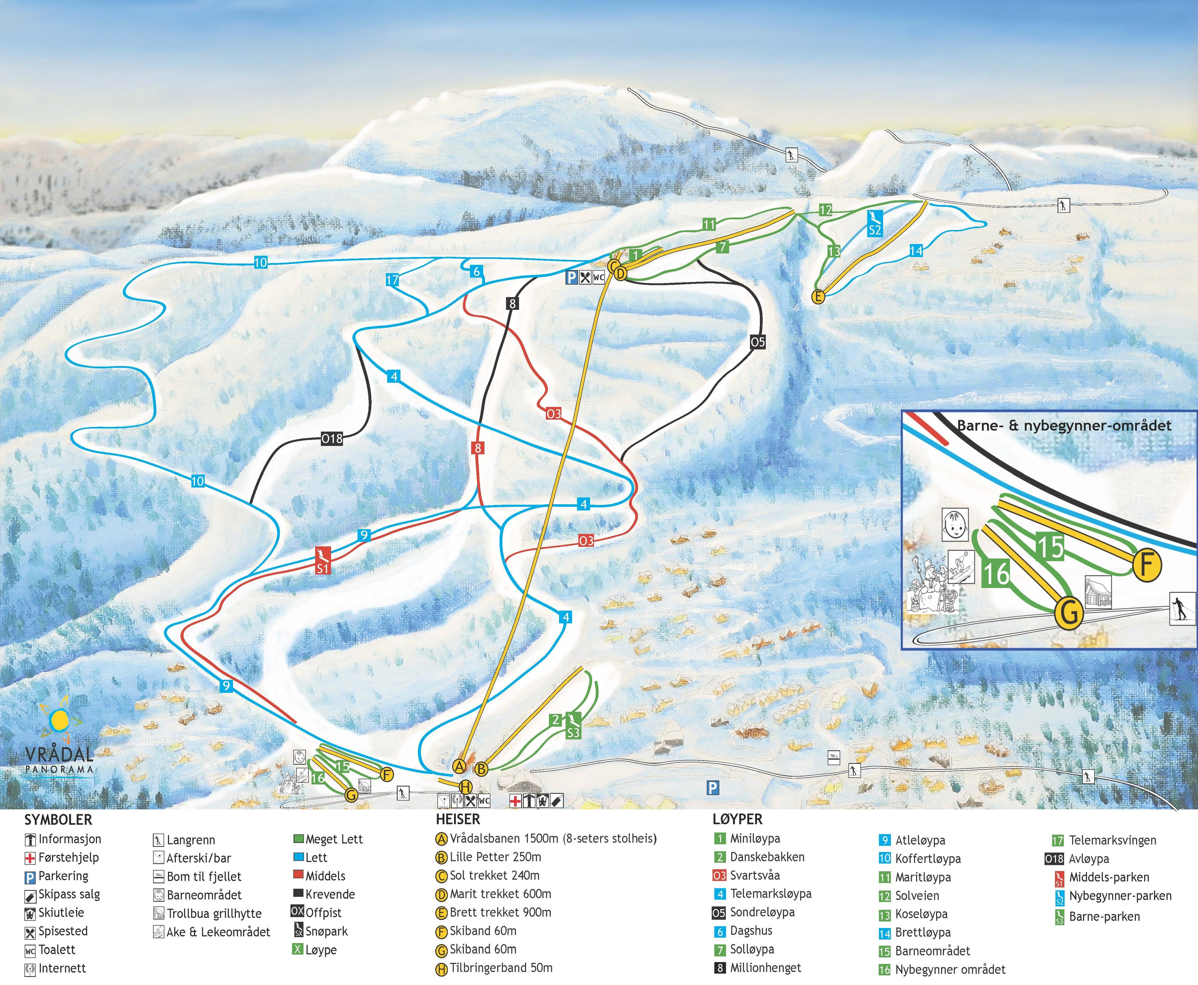 Vrådal Piste / Trail Map
